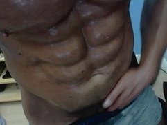 Real self worship pecs abs biceps and muscle cock
