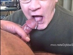 Older Grandpa With Dentures Sucks big black Cock then Swallows Cum