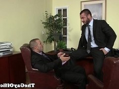 Uniformed gay office hunk is pounding ass