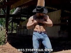 Cowboy stud adam champ went topless outdoor and finger his ass