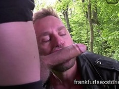Extreme rough gay orgy with 4 horny studs in the woods