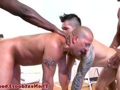 Ebony muscled jocks anal plowing dudes